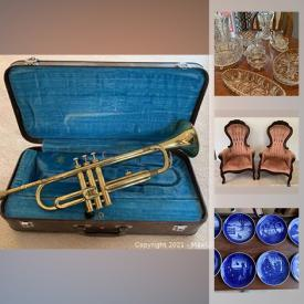 MaxSold Auction: This online auction features garden tools, trumpet, furniture, small kitchen appliances, Fine china, French provincial sofa, Yankee candles, antique clocks, dolls, Royal Copenhagen and much more.