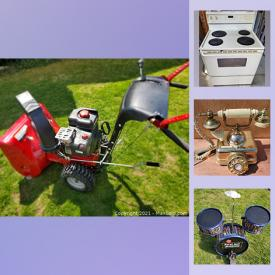 MaxSold Auction: This online auction features Turbo snowblower, ladders, antique patio furniture, lawnmower, tool boxes, legos, electronics, Mason jars, artwork, kitchen appliances, camping gear, yard tools, fireplace, drum set and much more.