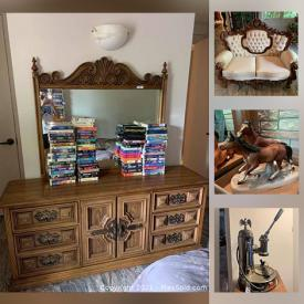 MaxSold Auction: This online auction features Signed Horse themed Art, Horse Racing trophy statues, cups and plaques, matching Victorian Style loveseat, Chesterfield and armchair, Mid-Century glassware, barware and decor, Artisan sculptures and pottery, Vases and Faux Florals and Plants, Encyclopedia Britannica Globe, Anniversary clock, Collector's Plates, Outdoors Patio Dining Furniture, Duck decoys, Leather Jacket, Floor polisher, Yard and Garden Grooming tools, Power tools, Curio Cabinet, Stereo Equipment and components and much more!