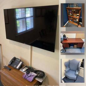 MaxSold Auction: This online auction features chairs, office chairs, antique oak desk, antique bookshelf, books, desks, lamp, rug, fake plants, wall-mounted TV, bike rack, mannequin and much more!