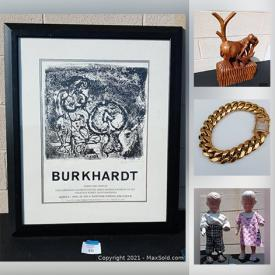 MaxSold Auction: This online auction features Sterling Silver, Jade, Sports Memorabilia, Looney Toons artwork, Vintage Jewelry, Wooden Pedestal, Apollo 11 Signed coin, Dolls and Vintage toys, Antique Telescope and much more.