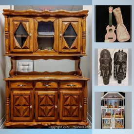MaxSold Auction: This online auction features home decor, art, leather, pyrex, jewelry, Stylish furniture, sporting goods and entertainment