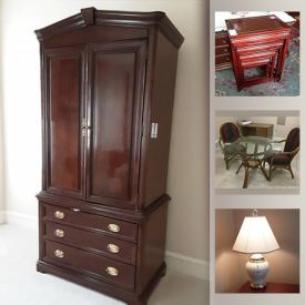 MaxSold Auction: This online auction features craft supplies, TV, Wicker Furniture, Office Furniture and equipment, Golf novelties, LaZboy Recliners, Leather sofa, Glassware, Crystal, Ceramics, China, Collector's Spoons, Video Camera and Projector, Shoes, Clothing, Linens and much more!