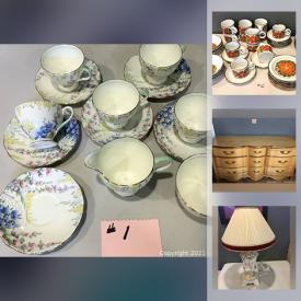 MaxSold Auction: This online auction features MCM decor, Dinnerware including Royal Doulton, Myott, Sango, Foley, Nasturtium, Homer Laughlin, Eva Zeisel, Dansk. Wedgwood, Fire King Lusterware, Art glass figures, Salt & Pepper shakers, Fabric remnants, Sewing patterns and notions, Knitting supplies, Japanese Inarco Pottery, Vintage clothing, Avon Cape Cod glassware and much more.