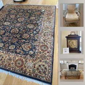MaxSold Auction: This online auction features Outdoor furniture and rug, garden decor and Ornamental lamps, African Beaded Pots, yard care, Persian rug, glass top dining table, bath decor and linens, fitness, mantel clock, home goods and much more!
