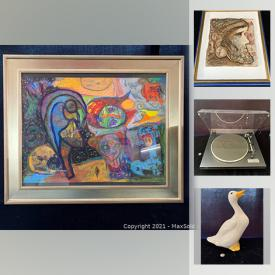 MaxSold Auction: This online auction features vintage pyrex, vintage mixing bowls, wood decoy, collectible teacups, art glass, antique crockery, vintage tools, legos, carnival glass, original artwork, hand-tinted photographs and much more!