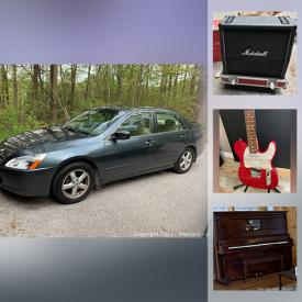MaxSold Auction: This online auction features a 2004 Honda Accord, Vintage Fender Telecaster Guitar, Fender Amplifier, Greg Lake's Marshall Amplifier, Speakers, Furniture, Wood Sculptures, Television, Heintzman Piano and much more