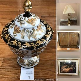 MaxSold Auction: This online auction features kitchenware, Royal Doulton, club chair, lamps, vases, wine glasses, laundry basket, mirror, outerwear, chest, games, children's chairs and bookshelf, bike carrier, bedside table, wall art, curtain rod, linens and much more!