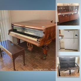 MaxSold Auction: This online auction features grand piano, Kenmore refrigerator, Whirlpool refrigerator, furniture such as brass table, leather sofa, MCM buffet, and wood dressers, lamps, albums, area rugs, bookshelves, glassware, BBQ with accessories, garden tools and much more!