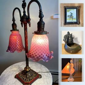 MaxSold Auction: This online auction features antique lighting, framed artwork, figurines, antique portraits, jewelry boxes and much more!