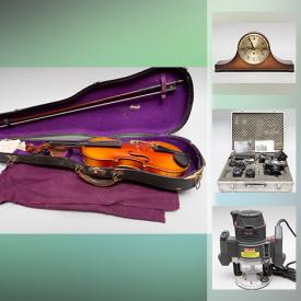 MaxSold Auction: This online auction features cameras & gear, clarinets, pipes, vintage toys, art glass, fishing gear, power tools, crystal stemware, Beer taps, musical instruments and much more!
