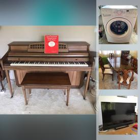 "MaxSold Auction: This online auction includes collectibles such as Barbie, international dolls with COA, and Wedgwood, Kimball piano, furniture such as Gaines sofa, side tables, and drink cart, 23"" Vizio TV, Maytag stove, GE refrigerator, Maytag washer, Whirlpool dryer, wall art, Murano glass, lamps, luggage, Schwinn bike, handbags, and much more!"