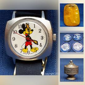 MaxSold Auction: This online auction features watches including Seiko, Swiss, Bulova, Mickey Mouse. jewelry including Jade, Coral, Amber, sterling pendants, Brooches and rings, Silver Asian coins, vintage cameras and toys, figurines including Beswick and Belleek, Lamps, Royal Copenhagen, sterling flatware and much more!