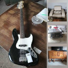 MaxSold Auction: his online auction features signed Dennis Mayer Jr prints and drawings, BOSE speaker system, electric guitars, percussion instruments Conga, Bongo, Tempo box, mirrors, TV, karaoke, sewing machines, AC, portable heaters, Hockey trading cards, vintage die-cast vehicles,. car speakers and components, Fitness Equipment, Comic books, converted truck trailer, lawnmowers, tools, hardware, table saw, barware and Breweriana and much more!