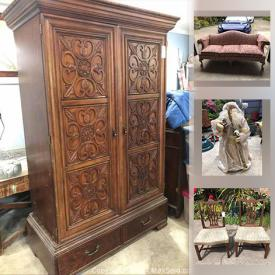 MaxSold Auction: This online auction features an Ethan Allen couch, dolls, books, tricycle, records, clothing, firepit, dishware, linens, Christmas decor, wicker chair, batting, armoire, fans, canning jars, door, canvas, weight bench and other exercising equipment, bags and much more!