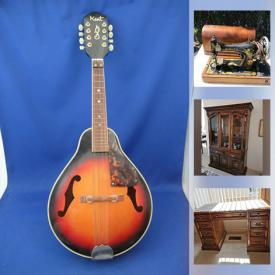 MaxSold Auction: This online auction features area rug, Roll top desk, Pug collectibles, musical instruments, vintage furniture, TV, antique decanters, art deco cabinet and much more!