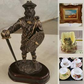 MaxSold Auction: This online auction features Fine China Teacups & Saucers, Mid-Century Italian Ceramics and Figurines, Novelty Barware, Norman Rockwell Steins, and Nostalgia, Clown figurines, Artisan ceramics & pottery, Antique mirror and Vintage furniture and much more!