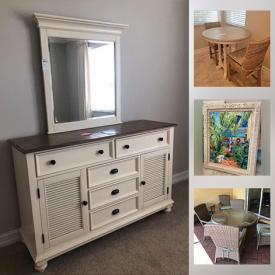 MaxSold Auction: This online auction features furniture such as buffet table, upholstered recliner, Riverside dresser, and dining table, lamps, Weber grill, Leader Brothers patio furniture, shelving, wall art, hand tools, yard tools and much more!