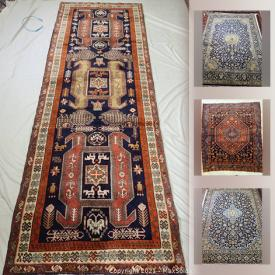 MaxSold Auction: This online auction features a variety of professionally washed rugs from tribal and city rugs from Iran in different sizes such as Lillian, Zanjan, Ghoochan, Kurdish and much more!