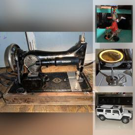 MaxSold Auction: This online auction features die-cast metal cars, UppaBaby Vista stroller, gold Singer sewing machine, vintage bike, home security bars, microwave bowls, jigsaw, costume jewelry, boots, model train set, tennis rackets, mega blocks, air horn and more!