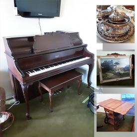 MaxSold Auction: This online auction features a Piano, TVs, Bassett Dining room set, Royal Doulton china, Small Kitchen Appliances and Food Prep Gadgets, Sewing Machine, Overlocking Serger, Chandelier, Crystal stemware, Outdoor furniture, Art supplies, Health aids, Mid-century Ephemera, Copper cookware, Upright freezer, Ladies outerwear, shoes and purses. Camping supplies, Computer Equipment and Components, Stereo Equipment and Components, Workshop Hand and Power Tools, Hardware, books, lamps. Fireplace tools, Microscope, Porcelain figurines and much more!