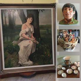 MaxSold Auction: This online auction features Costume Jewelry, Watches, Royal Crown Derby Flatware, Cookie Jar, Mantel Clocks, Inuit Art, Violins, Vintage Trains, Collectible Teacups, Toby Mugs, Wooden Masks, Vintage Lighting, Coca-Cola Collectibles, Royal Doulton Figurines and much more!