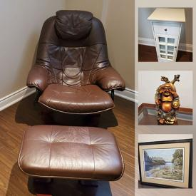 MaxSold Auction: This online auction features signed original oil paintings, signed numbered prints, China hutch, lamps, mirrors, plaster planters, Royal Hager cases, Buddha figure, mantel clocks, Bombay company scones, chandelier, DSLR camera, small kitchen appliances, leather furniture including IKEA chair, sewing machine, Armoire, camping gear and much more!