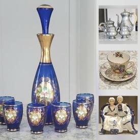 MaxSold Auction: This online auction features Mid-Century and depression Era glass including Imperial Amber, Ruby, Cranberry, Blue, Fenton Opalescent, Milk Glass, Cobalt Murano decanter set, Crystal including Webb & Corbett, and Cut-to-clear, China including Royal Doulton, Paragon. Nippon, Villeroy & Boch, Royal Holland Pewter, Beatrix Potter figural music box, Russian Tole Art, Italian Marble sculptures, Mid-Century barware including Dominion Equine Highballs, Packard Frosted and Kirkland Cocktails, Irish Coffees, Hazel Atlas Ice Tea set, Libbey, Perfumes, Handbags, Clutches and much more!!