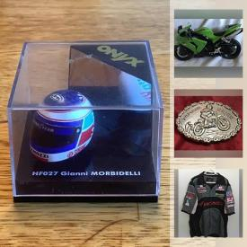 MaxSold Auction: This online auction features Racing enthusiasts Memorabilia & Collectibles! Including Motorcycle Racing, Nascar, Formula 1. Jerseys, Model Figures, Diecast Vehicles & Mini Helmets, Slot cars, Trophies. Salvaged auto parts, Mercedes Hub Caps, Vintage Automotive Shop Manuals & Dealer Brochures and much more!