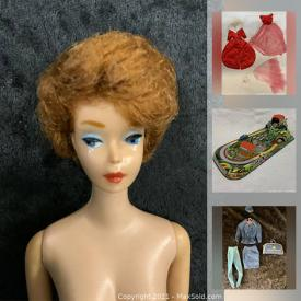 MaxSold Auction: This online auction features vintage Barbie & Ken galore! Including Clothes, Furniture, Miniature foods, Accessories, Dune Buggy. Bikes. A Barbie & Ken Star Trek set, An entire Wedding party too! Other vintage Dolls and Toys include Chatty Cathy, Baby Nancy, Ragdolls, Steiff Bear, Erector sets, Lincoln Logs, Die-cast vehicles, Action figures, Star Wars toys, Simpsons, collectibles, Legos, Plastic army men, Antique children's books, Childs China Tea Set, Micro Machines, Technofix Cable Car, treasured items and much more!