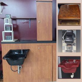 MaxSold Auction: This online auction features former barbershop & beauty salon items such as Barber Chairs, Barber's Station, Shampoo Bowl, Waiting Area Chairs, Rolling Carts, Beautician Chairs, Track Lighting, Ceiling Fans and much more!