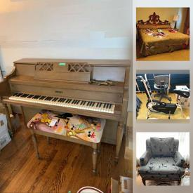 """MaxSold Auction: This online auction features  Royal Albert, silver plate, Aynsley, and crystal ware, furniture such as end tables, sofas, Papasan chairs, twin beds, and glass top tables, glassware, kitchenware, porcelain, art glass, shelving, wall art, lamps, exercise bike, office supplies, wine rack, hand tools, vintage posters, costume jewelry, air compressor, 31"""" Samsung TV, LPs, gumball machines, vintage cameras, small kitchen appliances, board games, power tools, Whirlpool freezer and much more!"""