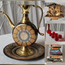 MaxSold Auction: This online auction features Vintage Sewing Machines, LPs, Vintage Board Games, Cuckoo Clock, Hobnail Glass, Perfume Bottle, Art Glass, Antique Corner Chair, Teapots, Kaiser Bisque Vases, Harris Tweed Jackets, Art Pottery, Decanters, MCM Furniture and much more!