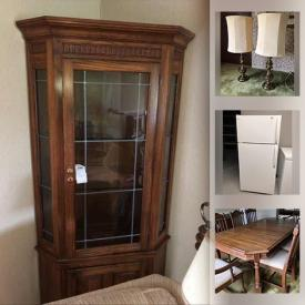 """MaxSold Auction: This online auction features Lenox china, 32"""" Sony TV, Kenmore freezer, Frigidaire refrigerator, furniture such as entertainment cabinet, side tables, La-Z-Boy recliner, wingback chairs, sofa, wall art, lamps and much more!"""