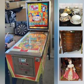 MaxSold Auction: This online auction features a vintage Pin Ball Machine vintage furniture, Novelty cookie jars, Brass decor, China including Royal Doulton, Bunnykins, Coalport, Limoges, Royal Wembley. Glass insulators, Farm tools, Breweriana including Cans and Bottles, Copper Kitchenware and Decor, Signe Paintings, Salt & Pepper Shakers, Clocks, Artisan pottery including Moorcraft, Oil Cans, Model Trains and much more!