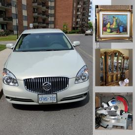 MaxSold Auction: This online auction features 2010 Buick Lucerne, electronics, display cabinet, china cabinet, dining table and chairs, original art, prints, house cleaning items, towels, small kitchen appliances, kitchenware, crystal, china, hardware, home repair items, dresser, step stools, Christmas decor, Samsung TV, miter saw, tools, lighting, books, office items and much more!