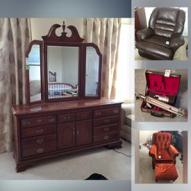"""MaxSold Auction: This online auction features collectibles such as Mikasa, porcelain, silver plate, furniture such as Vilas end tables, Rowe sofa, coffee tables, and dining table, 50"""" LG TV, Sony Blu-ray player, Kenmore speakers, ladders, Weber BBQ, garden tools, lawn chairs, wall art, art glass, dishware, small kitchen appliances, freezer, bicycle, area rugs, books and much more!"""