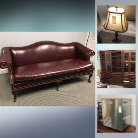"""MaxSold Auction: This online auction features Kenmore refrigerator, NIB office chair, office desks, file cabinets, NIB vanity, leather sofa, and kitchen cart, electronics such as HP printers, HP PC, Dell PC, 36"""" Dynex TV and monitors, office supplies, small kitchen appliances, glassware, wall art, Skywalker drone, yard tools, shelving, file cabinets and much more!"""