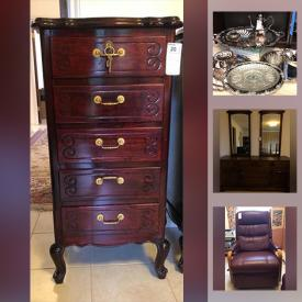 MaxSold Auction: This online auction features furniture such as lacquered tables and cabinets with mother of pearl inlay, chairs, desks, bookcase, recliner, wicker trunk, dresser, tables, bed frames, bench, chests and more, glassware, Jowle silverplated serving ware, sewing machine, baskets, piano, TV and other electronics, fireplace tools, brass items, cuckoo clock, small kitchen appliances, Nativity set, paintings, rugs, kitchenware, crystal vases and much more!