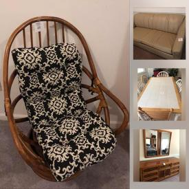 MaxSold Auction: This online auction features Solid wood furniture, including Dining room sets, China Cabinet, Armoire, King Bed set, Bunk Bed, Sleeper Sofa with Matching chairs, Dressers, Nightstands, TVs and much more!