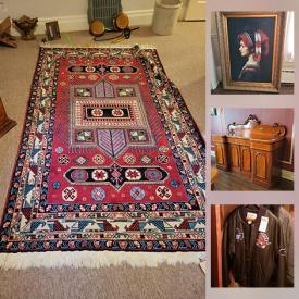 MaxSold Auction: This online auction features furniture such as a vanity, cupboard, chairs, sideboard, headboard, nightstand, armchairs, washstand, and more, electronics, hats and scarves, collectible plates, record albums, art, rugs. tools, cleaning items, linens, wedding dress, kitchenware, small kitchen appliances, household items, Jennifer Cukier ceramics, sports items, clothing, sterling silver, bracelets, baskets, prints, bookends, books, pitchers, CDs, pots and pans and much more!