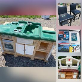 MaxSold Auction: This online auction features kids toys and chairs, dollhouses, bikes, wooden chairs, coat rack, art desk, sideboard, maple veneer vanity, water bottle, hotdog cooker, records, decor and much more!