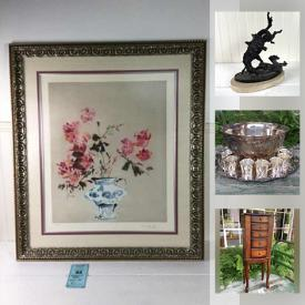 MaxSold Auction: This online auction features silver plate, Spode, fine china, crystal ware, framed wall art, costume jewelry, books, kitchenware, pottery, home decor, glassware, small kitchen appliances, KLH speakers, golf clubs, women's accessories, DVDs, CDs, Sony Blu-ray player, lamps, stained glass and much more!