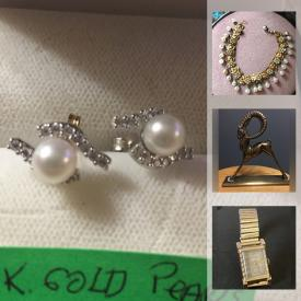 MaxSold Auction: This online auction features jewelry such as Gold, Silver, Jade, Pearls, Turquoise, Amber, Rhinestone, and Watches, Original Wall Art, Vintage Wind Chimes, Bronze Statues, Vintage Pyrex, Collectible Teacups, Needlepoint Purses and much more!