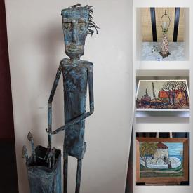 MaxSold Auction: This online auction features Gwyneth Travers woodcut, copper sculpture banjo, vintage slag glass, art glass, fishing gear, antique decoy duck, art pottery, stone carving, LPs and much more!