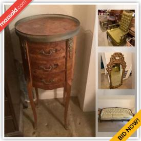 """MaxSold Auction: This online auction features silver plate, sterling silver, Noritake china, crystal ware, furniture such as vintage Thomasville sofa, secretary desk, china hutch, gaming chair, and swivel barrel chairs, glassware, lamps, ceramics, wall art, gazebo, 32"""" Samsung TV, PlayStation console, NES console with games, handbags, DVDs, vinyl records, fishing gear and much more!"""