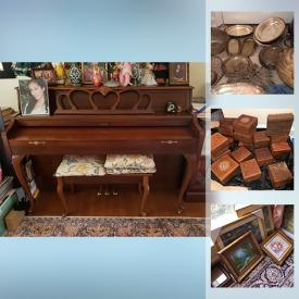 MaxSold Auction: This online auction features Lenox, Baldwin Classic Piano, antique tapestry, silver plate, desk with chair, framed art, glassware, home decor, floor lamps, books, carved walnut boxes and much more!