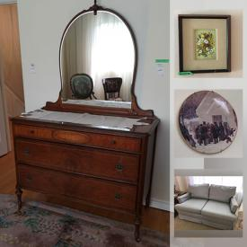 MaxSold Auction: This online auction features furniture such as bed frames, bench, tables, chairs, stools, side tables, shelving units, dressers, couches and more, paintings and wall art, Wedgwood, lamps, Royal Doulton, Adderley figurines, cutlery, silverplate, sterling items, vases, books, small kitchen appliances, kitchenware, plants, rugs, linens, costume jewelry, fridge and freezer, ladder, coolers, sports items, lawnmower, car battery charger, cleaning tools, blinds and much more!