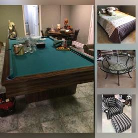 MaxSold Auction: This online auction features pool table, sports equipment, large power tools, fishing gear, power & hand tools, collectible teacups, costume jewelry, small kitchen appliances, toys, golf, garden tools, ladies' clothing and much more!