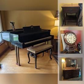 MaxSold Auction: This online auction features a 1939 Baby Grand Piano, IKEA bookcases, Andy Warhol's Marilyn Monroe Plates, Antique Walnut furniture, Bird Feeder Kit, Antique Mantel Clocks, Boxed Lots of Large Stamp Collections, Computer Equipment and Components, Disco Music Vinyl LP collections, Le Creuset cookware, Children's Movies including Disney VHS, DVD collections, Lamps and Lighting, Stereo Equipment and Components, Home Repair & Improvement Equipment and Supplies, Ladders, Workshop Hand and Power Tools, Hardware, Fitness Equipment and Sporting Goods, Small Kitchen Appliances and Food Prep Gadgets and much more!